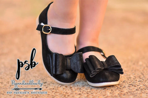 Pipperdoodles Black Brushed Bow Shoes (READ DISCLAIMER!!!!!!!)