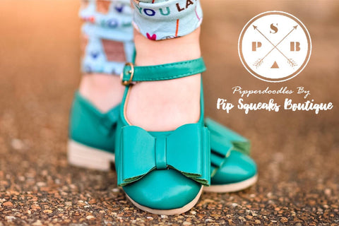 [Turquoise] Pipperdoodles Bow Shoes