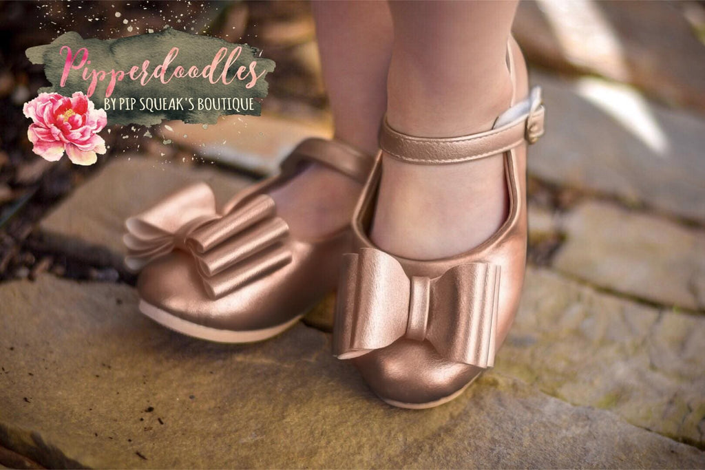 [Rose Gold] Pipperdoodles Bow Shoes