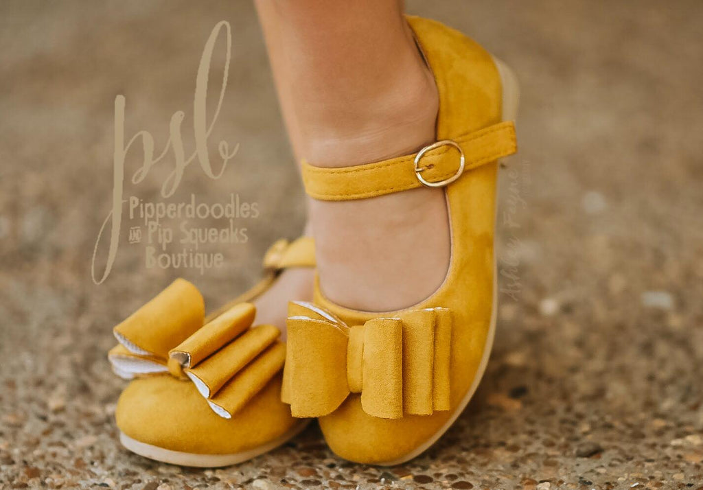 [Mustard Suede] Pipperdoodles Bow Shoes