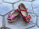 [Red Buffalo Plaid] Pipperdoodles Bow Shoes