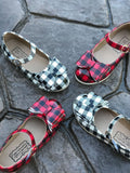 [White Buffalo Plaid] Pipperdoodles Bow Shoes