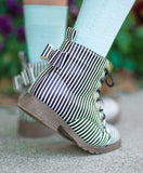 [Black + White Stripe] Pipperdoodles Boots