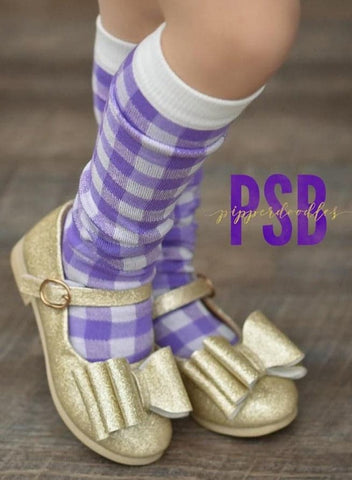 [Light Purple Gingham] Tall Socks