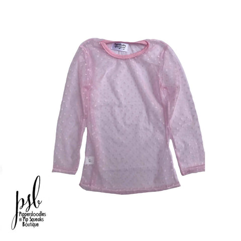 No Ruffle Long Sleeve Sheer Light Pink Dot Lace Top (Runs Snugger Than Regular Lace Tops)