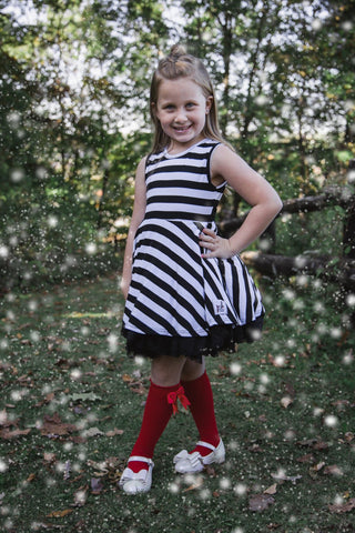 """Black + White Stripe"" [Loved Collection] Vintage Length Poofy Twirl Dress"