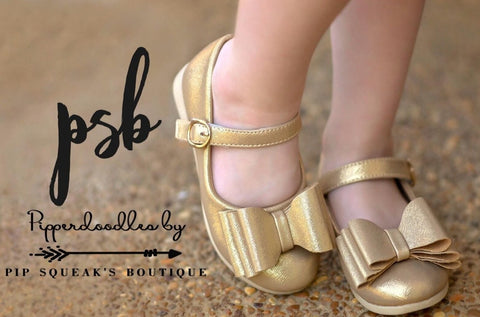 Pipperdoodles Gold Shimmer Bow Shoes (READ DESCRIPTION)