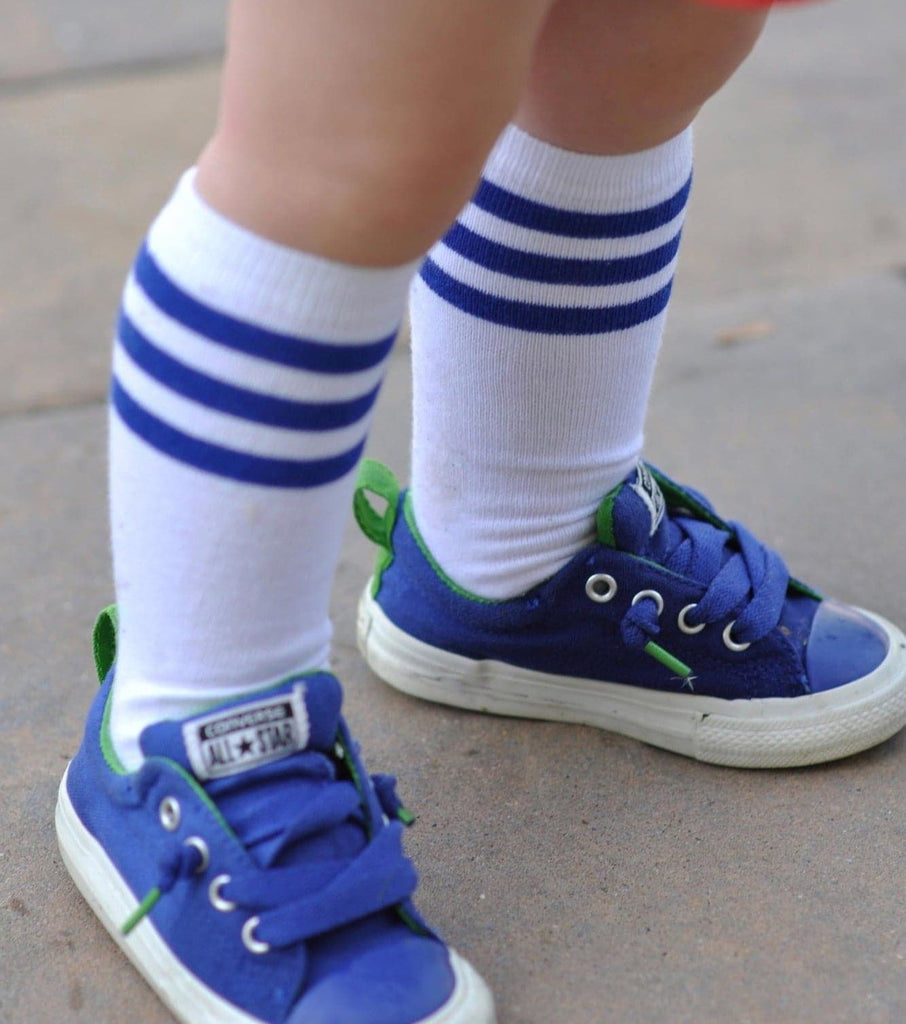Blue Stripe Baseball Tall Socks