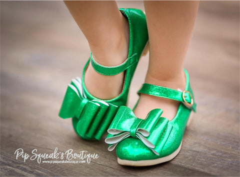 Pipperdoodles Glitter Green Bow Shoes (READ DESCRIPTION)