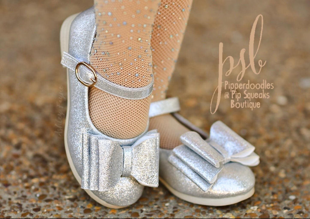 [Glitter Silver] Pipperdoodles  Bow Shoes