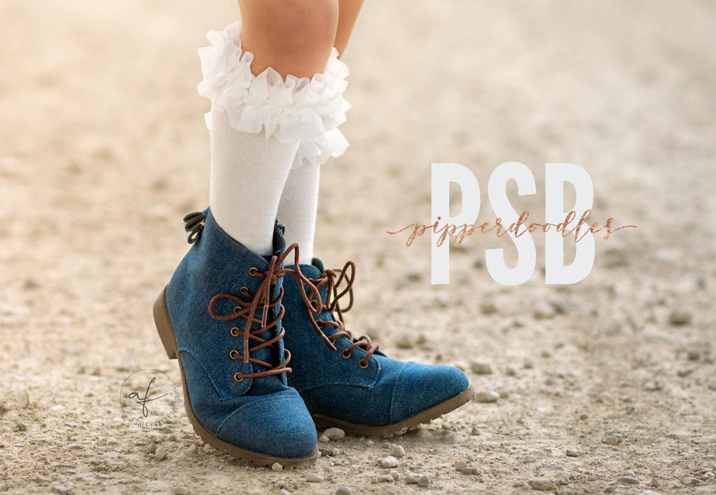 [Denim] Pipperdoodles Boots W/ Detachable Bows