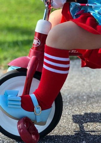 Red With White Stripe Baseball Tall Socks