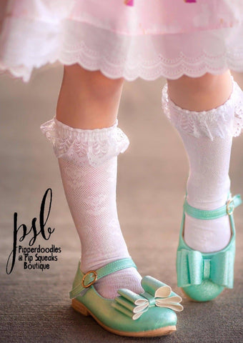 [White + Lace Trim] Tall Socks