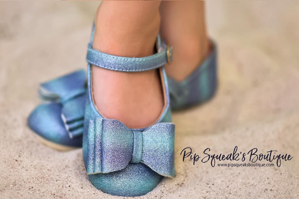 [Blue + Purple Glitter] Pipperdoodles Bow Shoes