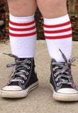 White With Red Stripe Baseball Tall Socks