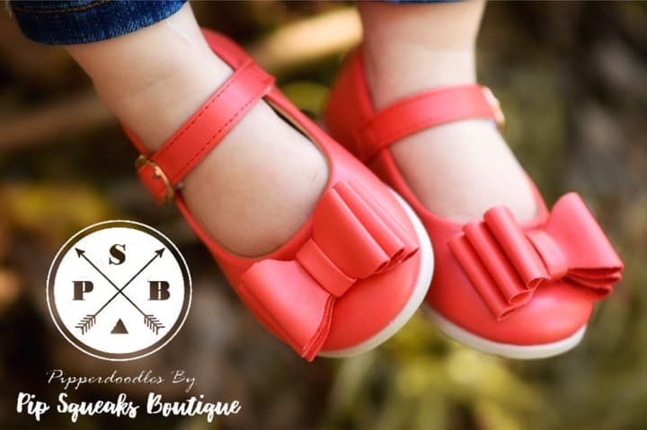 SOLD OUT Pipperdoodles Matte Red Bow Shoes