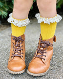 [Mustard Cable Knit w/ Cream Beige Lace] Tall Socks