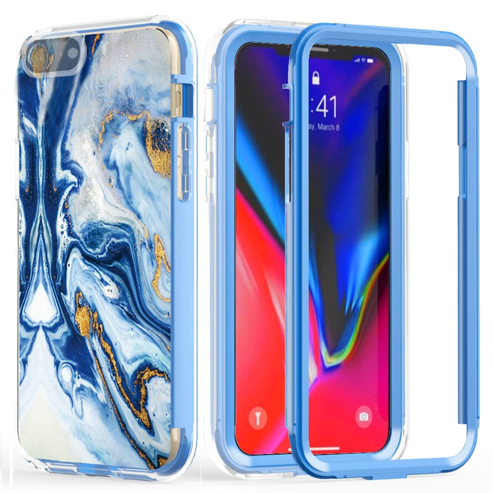 Marble Swirl Design Protective Fashion Mobile Phone Case, Blue