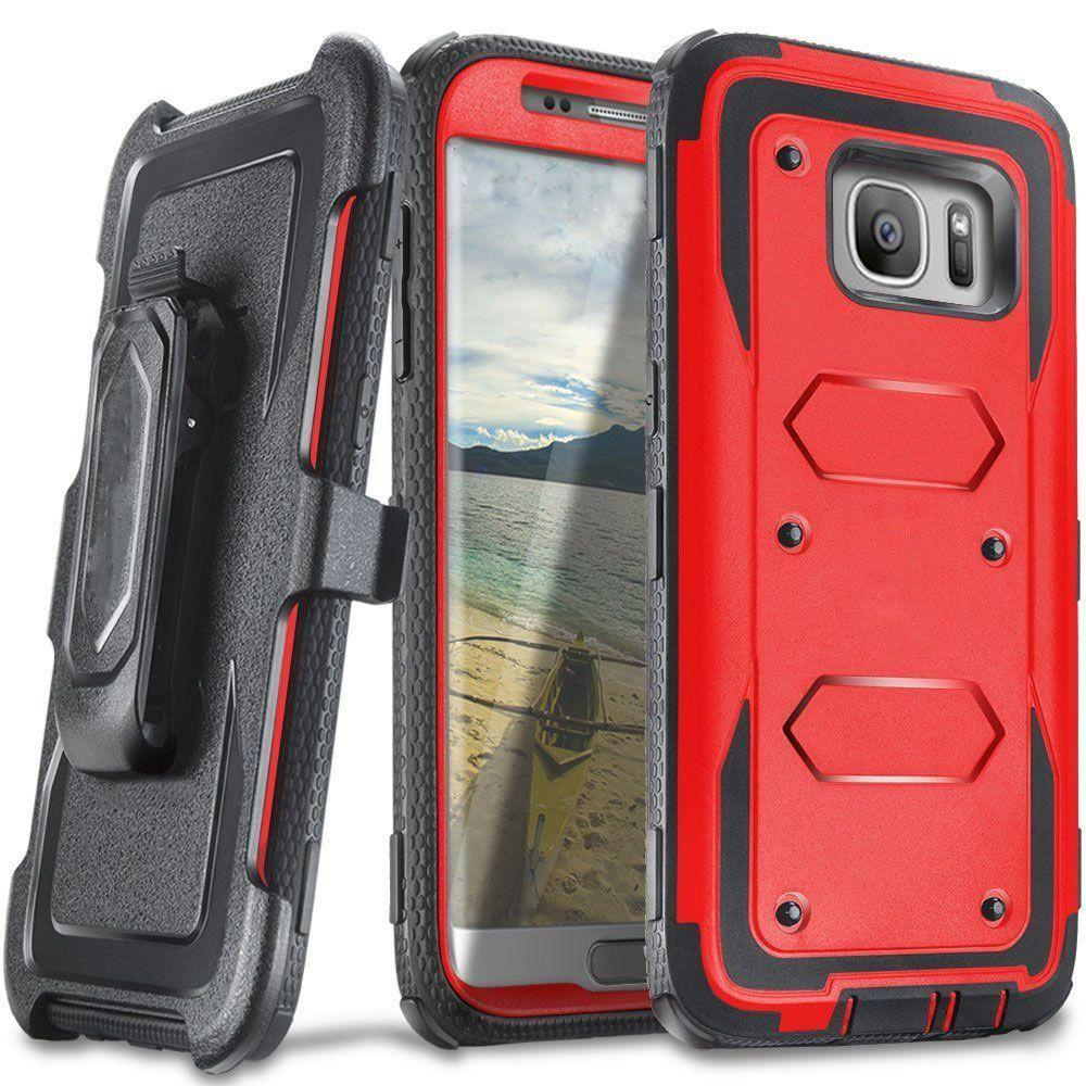 - Triple Protection Rugged Case and Holster Shell Combo, Red/Black for Samsung Galaxy S7