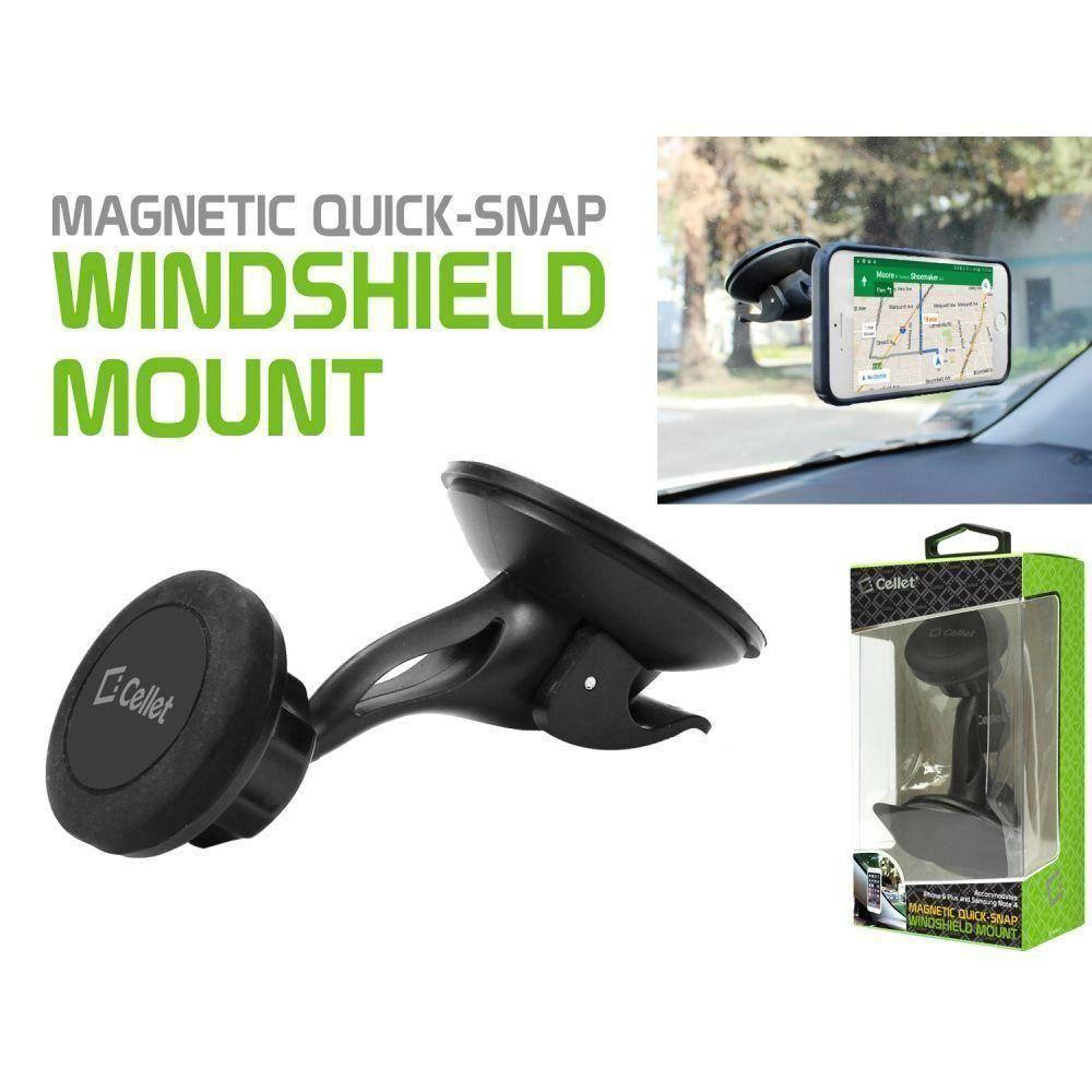 Volt 2 Ls751 - 360 Degree Magnetic Quick-Snap Windshield and Car Dash Mount Phone Holder , Black