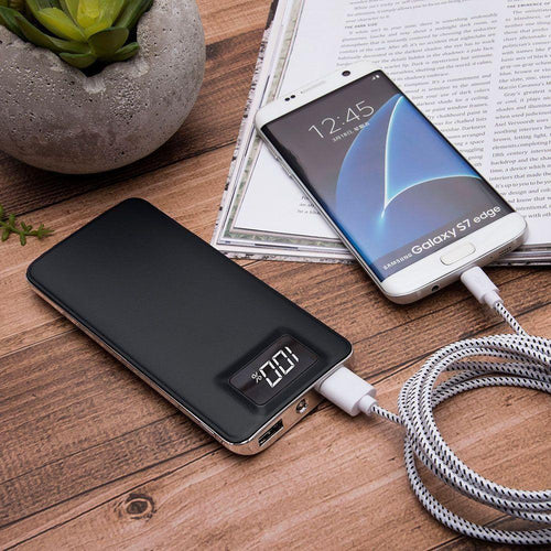 Portable Personal Electronics Ipads Tablets Accessories - 10,000 mAh Slim Portable Battery Charger/Powerbank with 2 USB Ports, LCD Display and Flashlight, Black