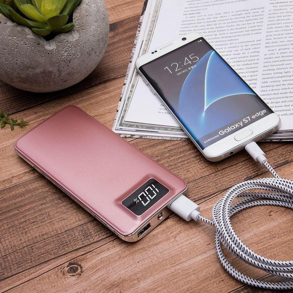 - 10,000 mAh Slim Portable Battery Charger/Powerbank with 2 USB Ports, LCD Display and Flashlight, Rose Gold