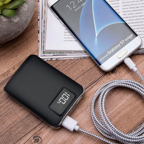 Zte Source - 4,500 mAh Portable Battery Charger/Powerbank with 2 USB Ports, LCD Display and Flashlight, Black