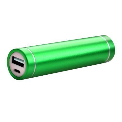 Motorola Adventure V750 - Universal Metal Cylinder Power Bank/Portable Phone Charger (2600 mAh) with cable, Green