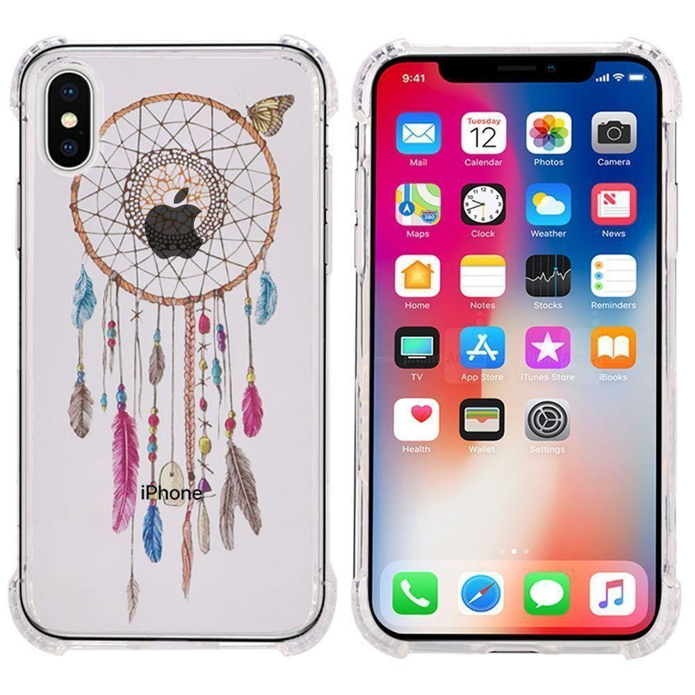 - Dream Catcher Design Bumper Case with Air Cushion Shock Absorption, Multi-Color/Clear for Apple iPhone X