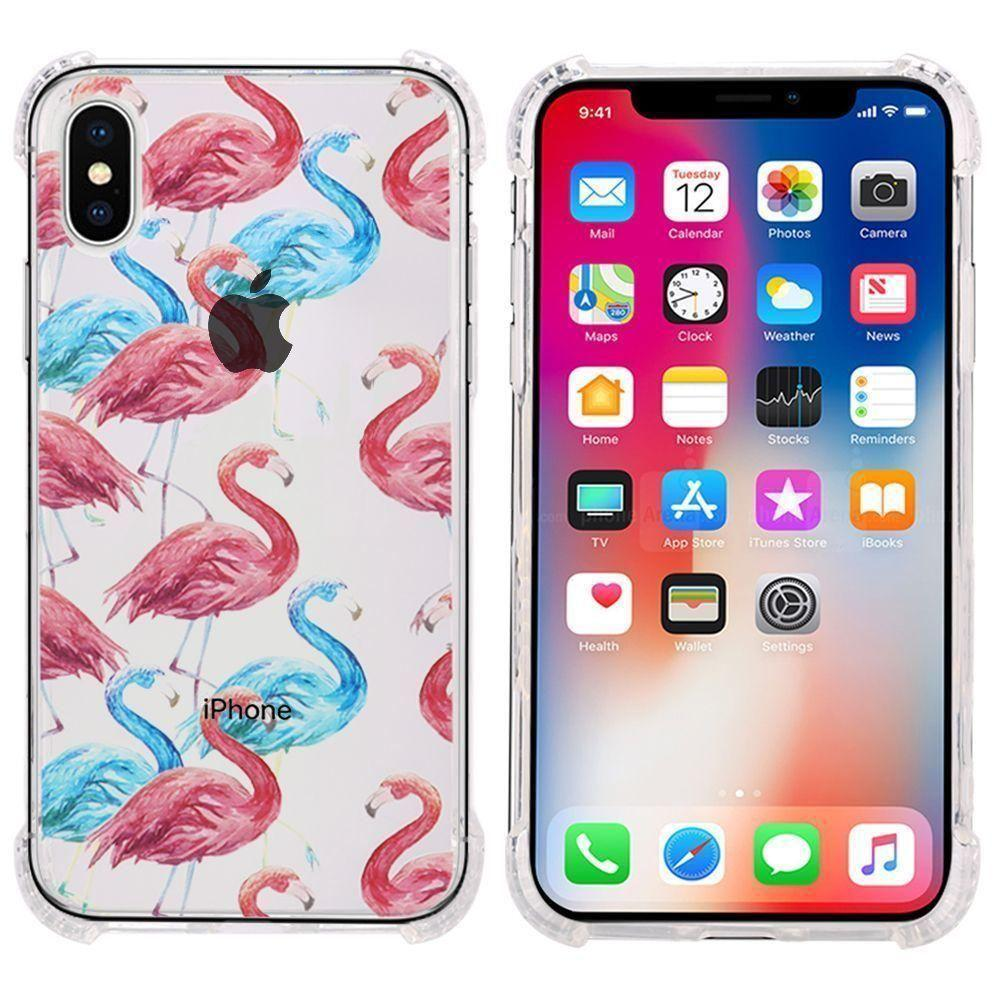 - Flamingo Design Bumper Case with Air Cushion Shock Absorption, Red/Clear for Apple iPhone X