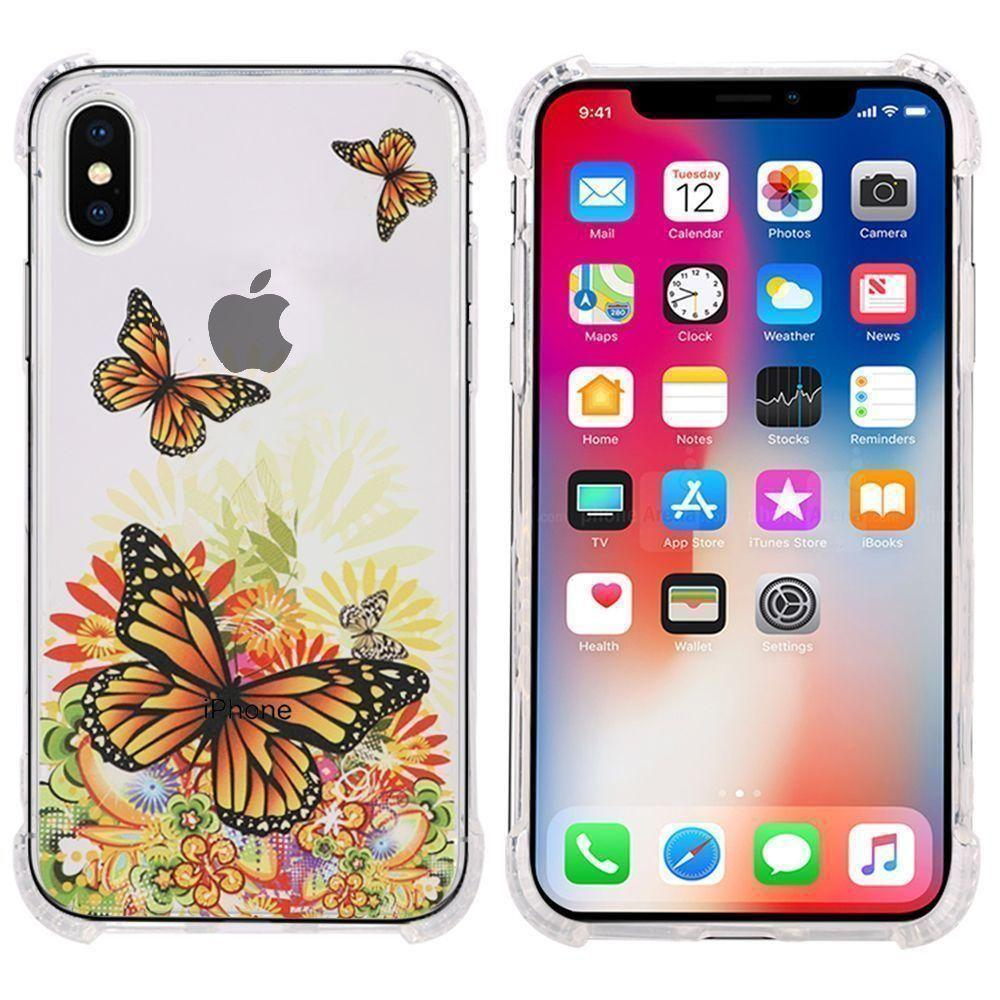- Gold Butterfly Design Bumper Case with Air Cushion Shock Absorption, Gold/Clear for Apple iPhone X
