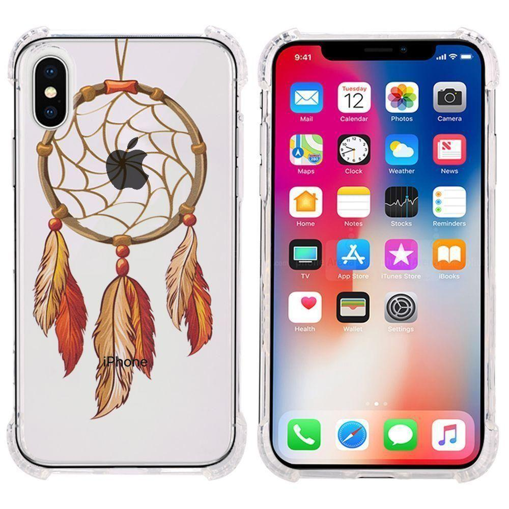 - Gold Feather Design Bumper Case with Air Cushion Shock Absorption, Multi-Color/Clear for Apple iPhone X