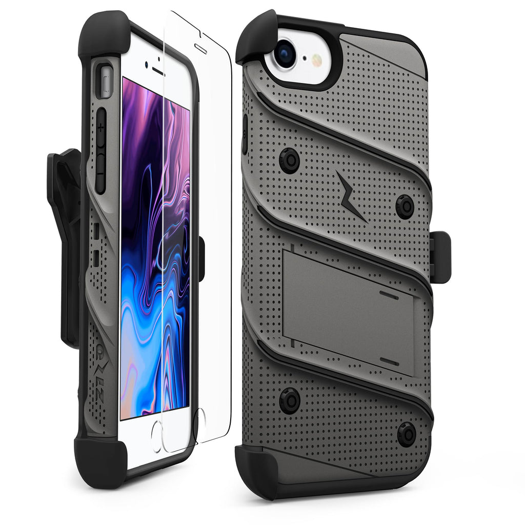 Zizo Bolt Heavy Duty Rugged Case, Holster and Tempered Glass Combo, GrayBlack for iPhone 6
