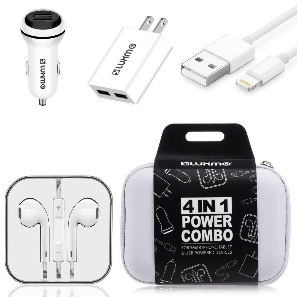 - Luxmo Charging Bundle - Includes Car & Home Charger Adapters, Lightning Cable & Headphones, White