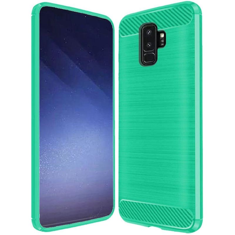Carbon Fiber Design Lined Brushed TPU Case, Teal for Samsung Galaxy S9 Plus