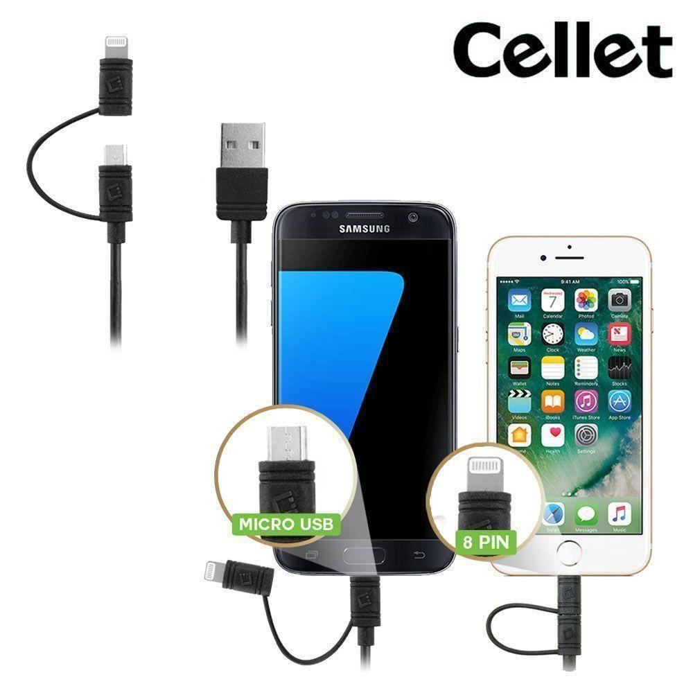 Droid 4 - Cellet 3FT Certified 2-in-1 Micro USB & MFI Certified Lightning 8-Pin to USB Sync and Charge Cable, Black