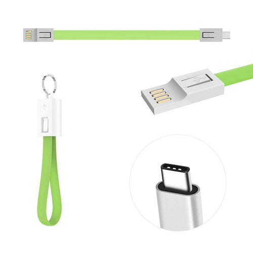 Huawei Google Nexus 6p - Charge & Sync Type-C Flat Cable Keychain, Lime Green