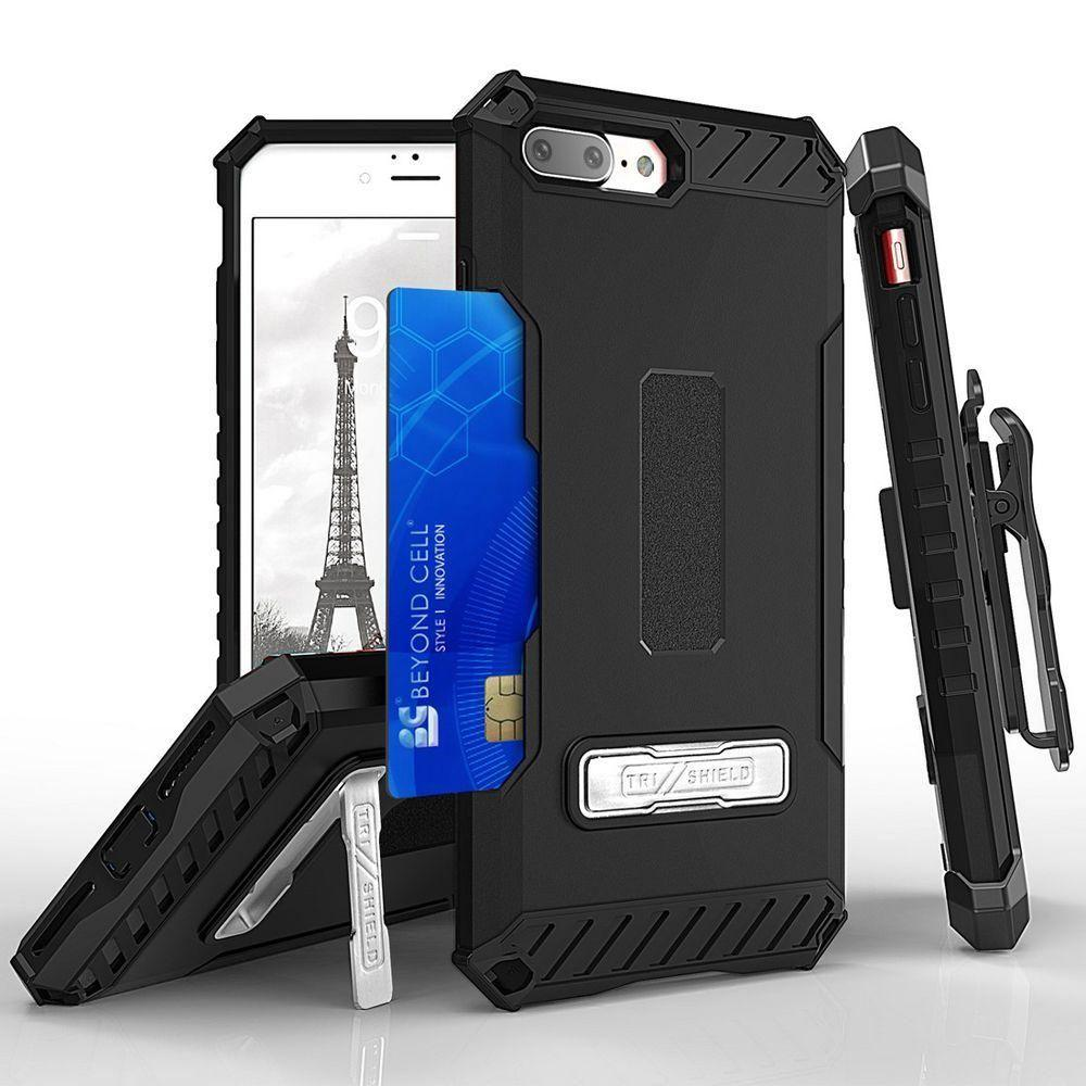 - Tri Shield Kombo Rugged Case with Holster and Card Holder, Black for Apple iPhone 7 Plus/iPhone 8 Plus