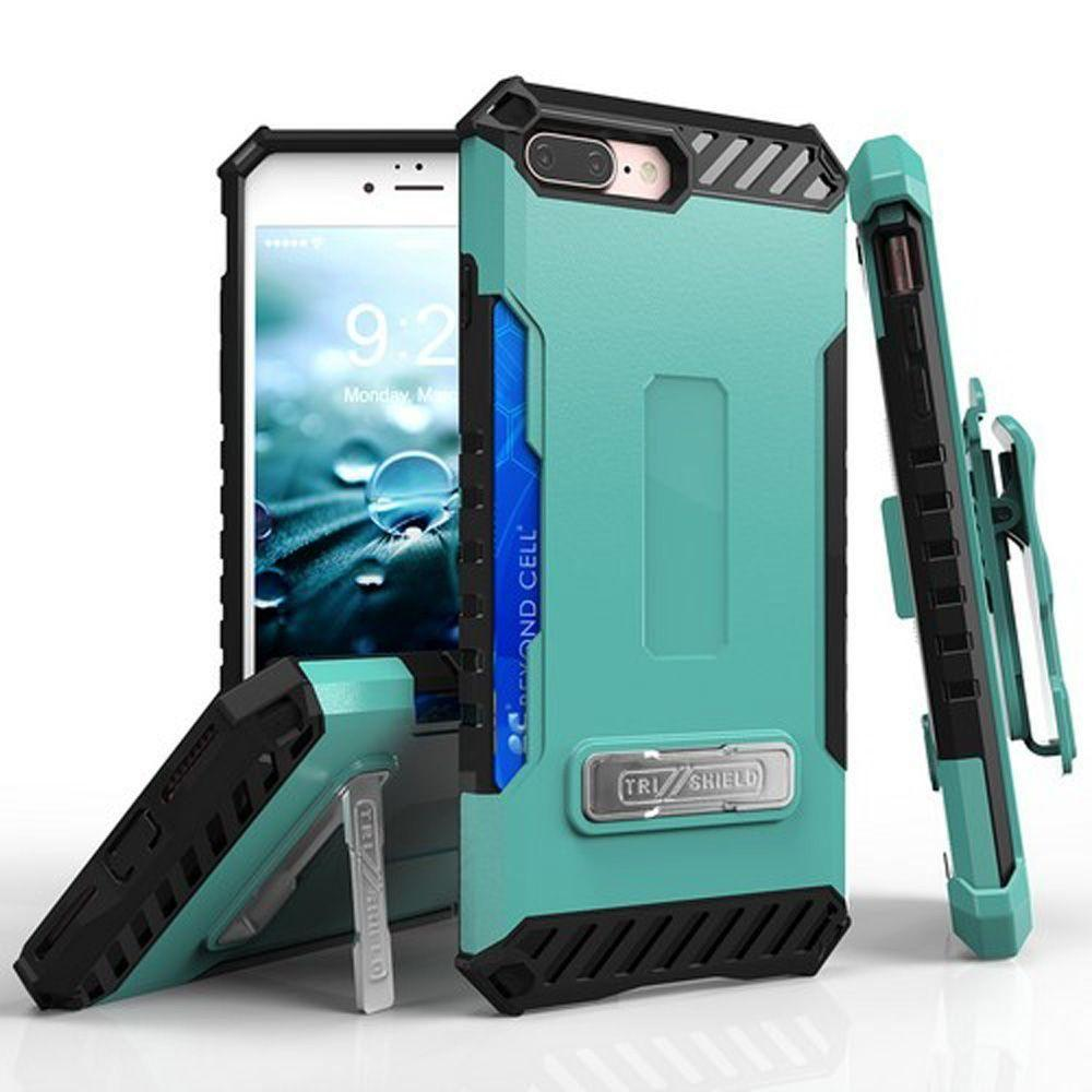 - Tri Shield Kombo Rugged Case with Holster and Card Holder, Green/Black for Apple iPhone 7 Plus/iPhone 8 Plus