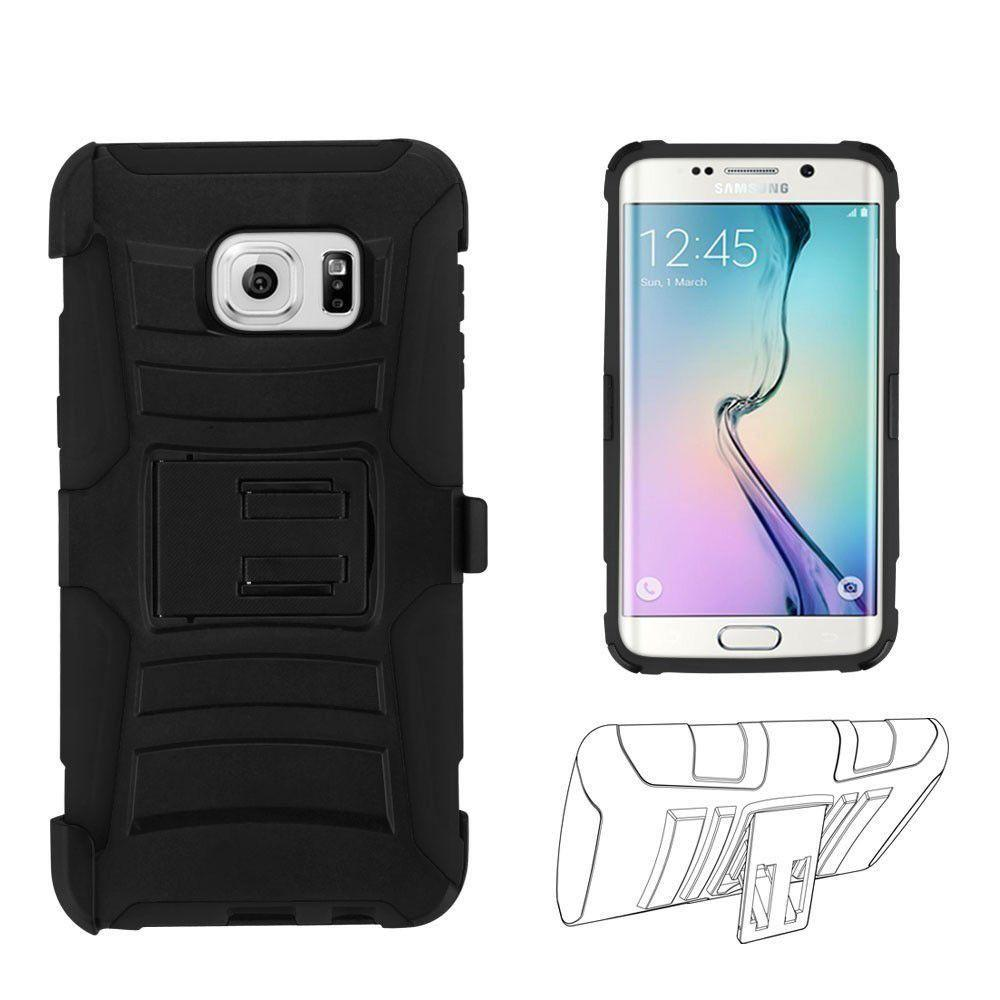 - Armor Kombo Hybrid Case with Belt Clip Holster, Black for Samsung Galaxy S6 Edge Plus