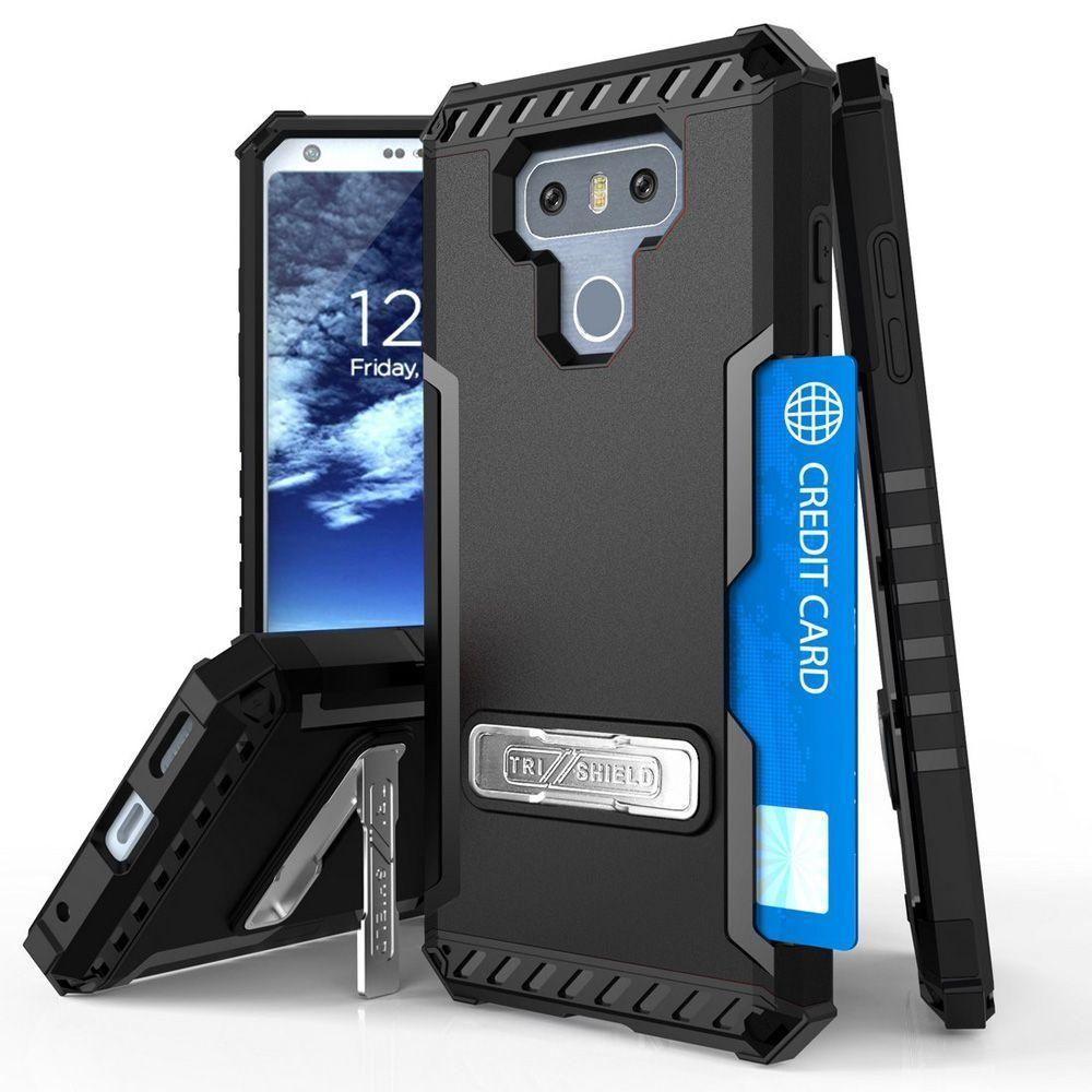 - Tri Shield Rugged Combo Case with Kickstand and Card Holder, Black