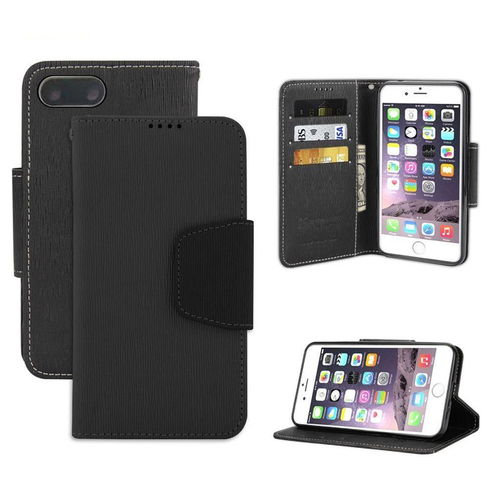 - Infolio Leather Folding Wallet Phone Case, Black for Apple iPhone 7 Plus/iPhone 8 Plus