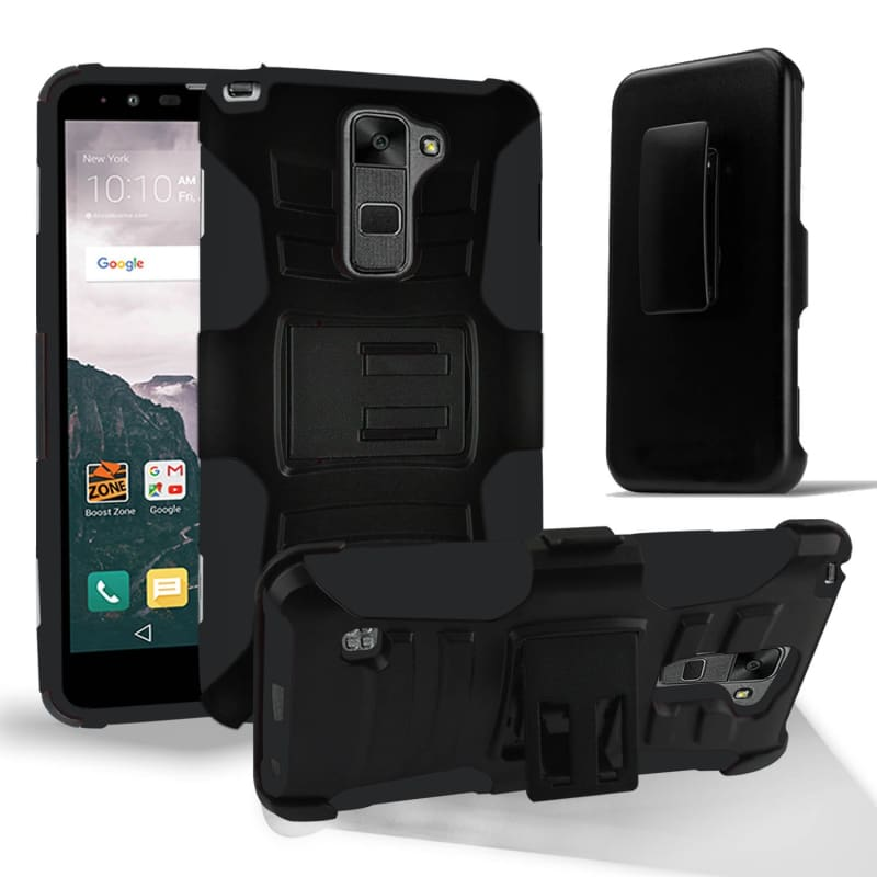 size 40 13840 f96f3 LG G6 Armor Hybrid Heavy Duty Tough Dual Layer Rugged Protective Phone Case  case with Kickstand, Black/Black