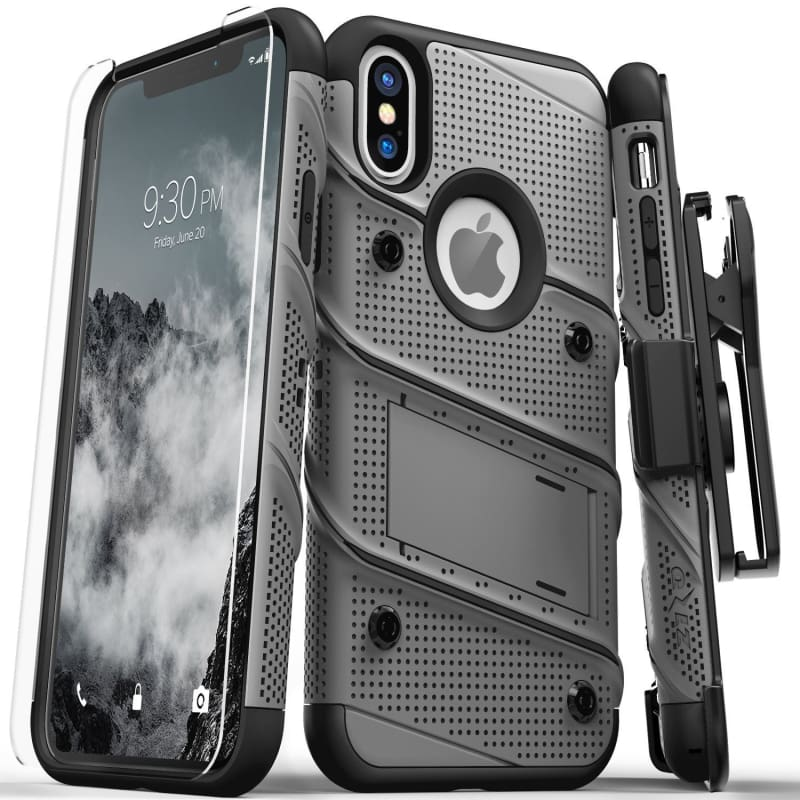 Zizo Bolt Heavy Duty Rugged Case, Holster and Tempered Glass Combo, GrayBlack for Apple iPhone XS Max