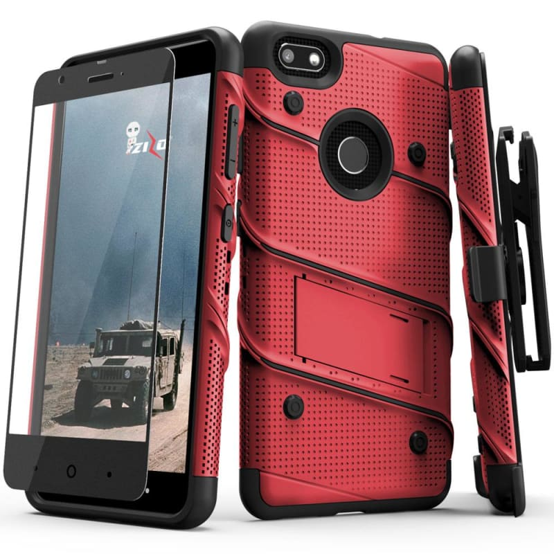 cheap for discount 6fef2 95d97 ZTE Blade X Zizo Bolt Heavy Duty Rugged Case, Holster and Tempered Glass  Combo, Red/Black
