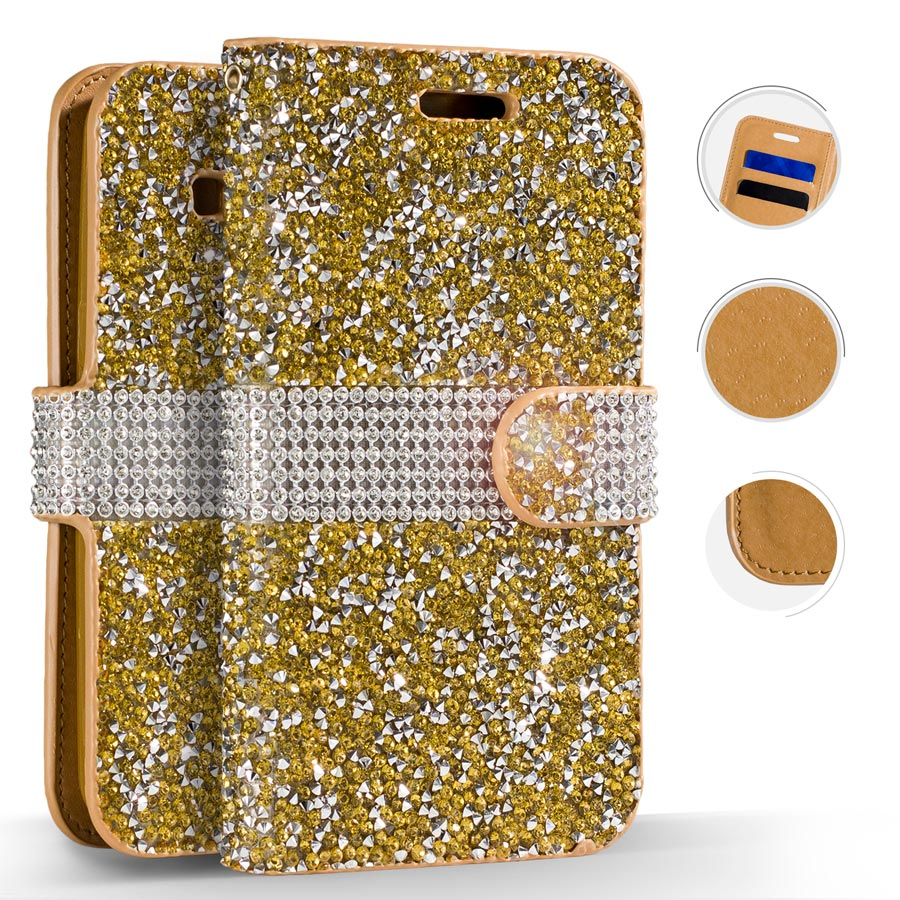 Full Diamond Mobile Phone Wallet Case with Credit Card Pockets, Gold for Samsung Galaxy S8 Plus
