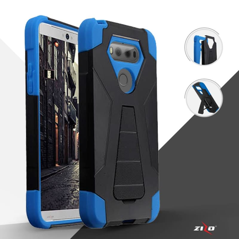 Dual Layered Hybrid Turbo SC & PC Cover with Kickstand , Blue