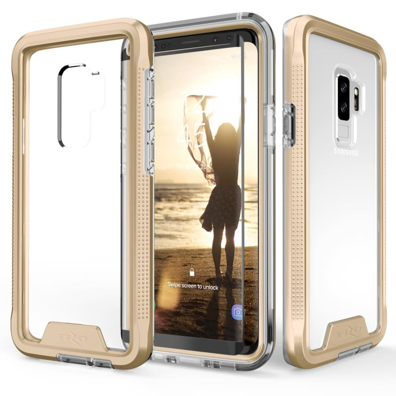 buy popular 8bb5e 49597 Samsung Galaxy S9 Plus Zizo ION Triple Layered Hybrid Rugged Case with  Tempered Glass, Gold/Clear