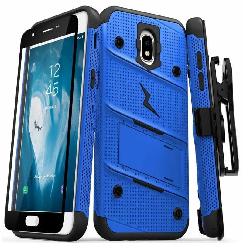 Samsung Galaxy J3 Orbit Zizo Bolt Heavy Duty Rugged Case, Holster and  Tempered Glass Combo, Blue/Black
