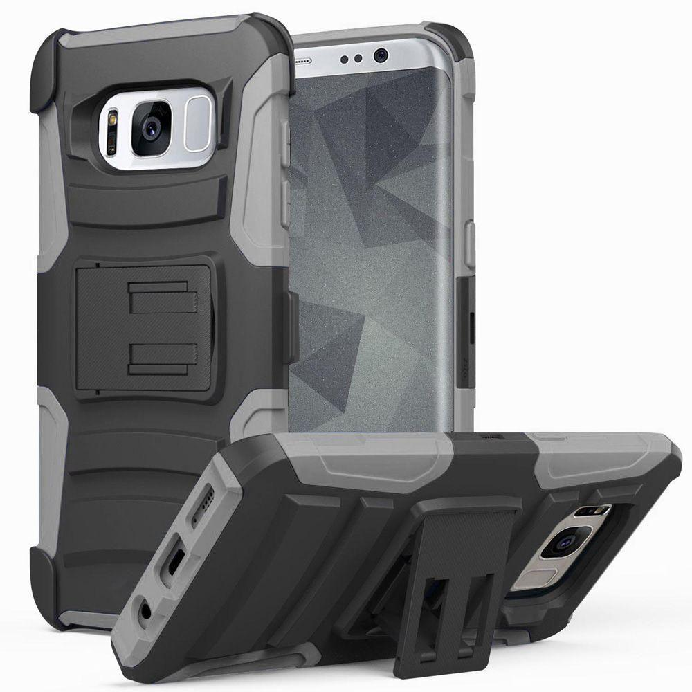 - My.Carbon 3-in-1 Rugged Case with Holster, Black/Gray for Samsung Galaxy S8